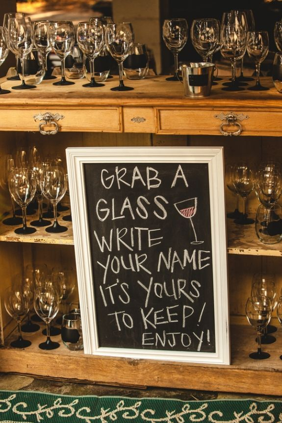 chalkboard sign and on favor wine glasses.
