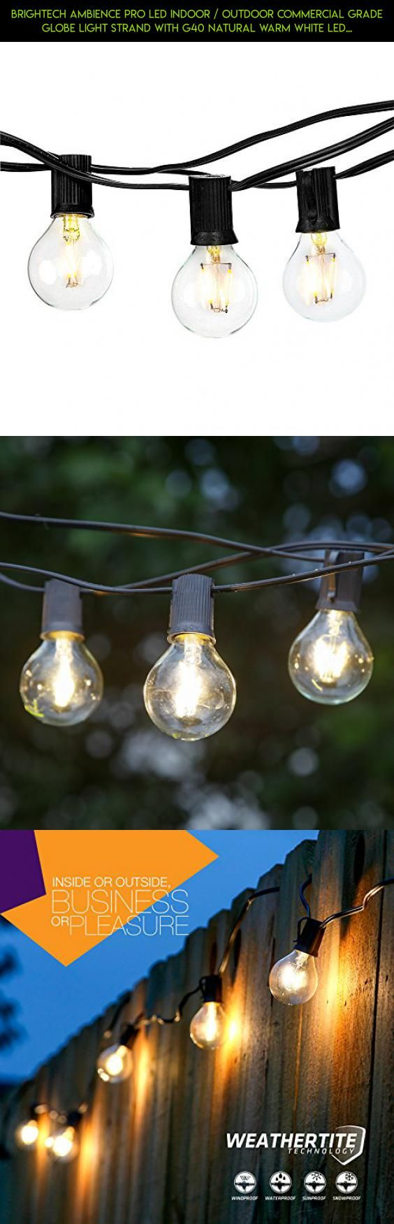 Brightech Ambience PRO LED Indoor / Outdoor Commercial Grade Globe Light Strand with G40 Natural Warm White LED Bulbs - 1 Watt LED Bulbs Included, 26 Foot Strand - Classic Black #decor #gadgets #products #fpv #lights #outdoor #shopping #technology #tech #drone #racing #led #camera #parts #plans #kit