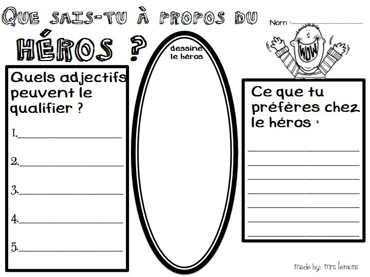 This would be a great vocab building activity before getting students to write about heros.