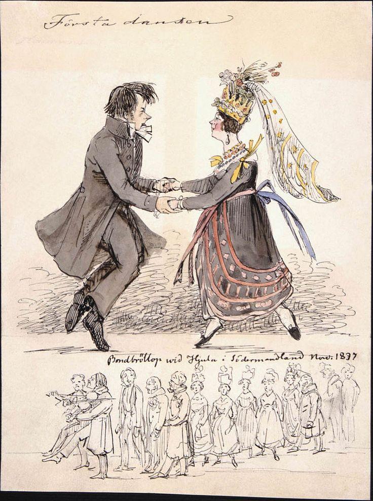 Första dansen. Bondbröllop vid Hjula i Södermanland. Fritz von Dardel, 1837 - Nordiska Museet - NMA.0037691 - Fritz von Dardel – Wikipedia