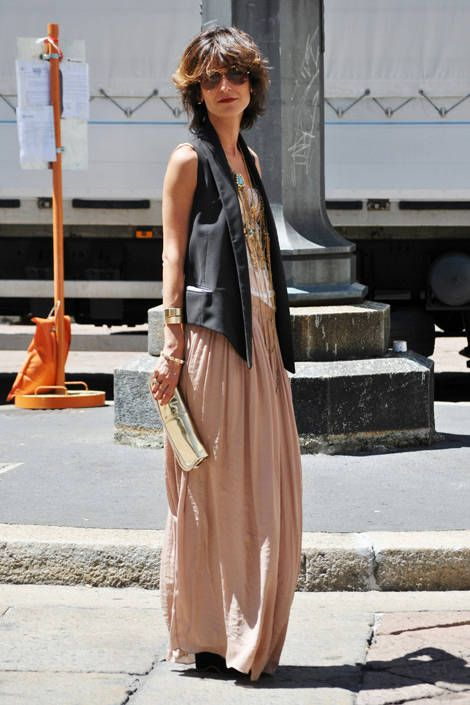 A maxiskirt goes the distance when topped by an elongating tailored waistcoat. Melanie Galea/The Street Muse  - ELLE.com