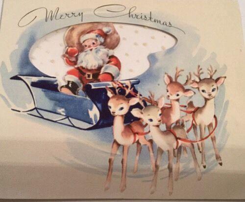 Vintage Greeting Card Christmas Santa Claus Reindeer Deer Sleigh Velum