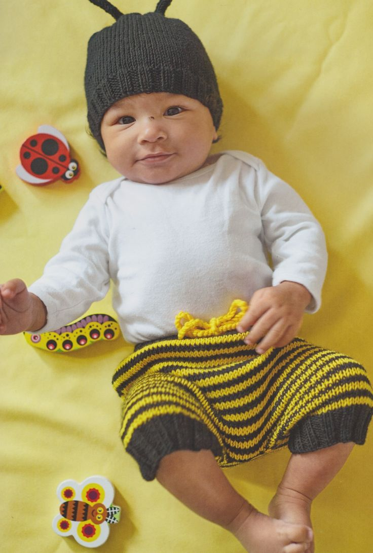 Bumblebee hat and bloomers from my book, Knitted Animal Nursery, 2017