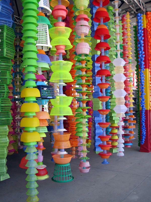 installation at LACMA (photo from 2009) - hanging plastic items like curtains