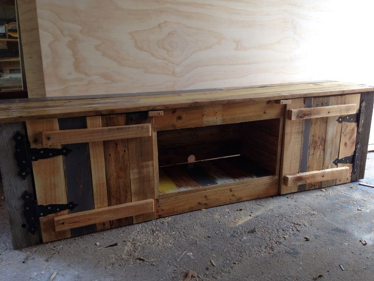 Reclaimed timber low line TV entertainment unit