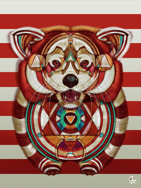 """Red Panda"" digital painting  by Giulio Rossi https://goo.gl/rsA67T"