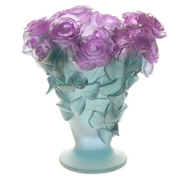 Large Rose Ultraviolet Vase By Daum Crystal Changes From