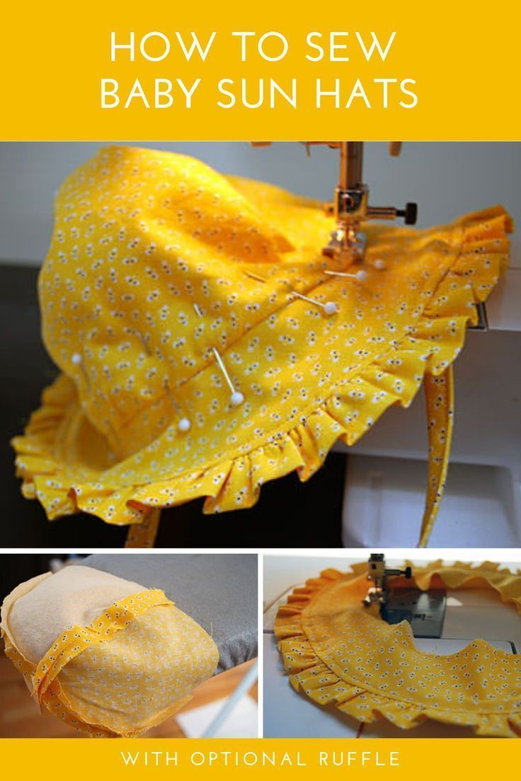 Free baby bonnet pattern: Baby sun hat sewing pattern with ruffles and ties