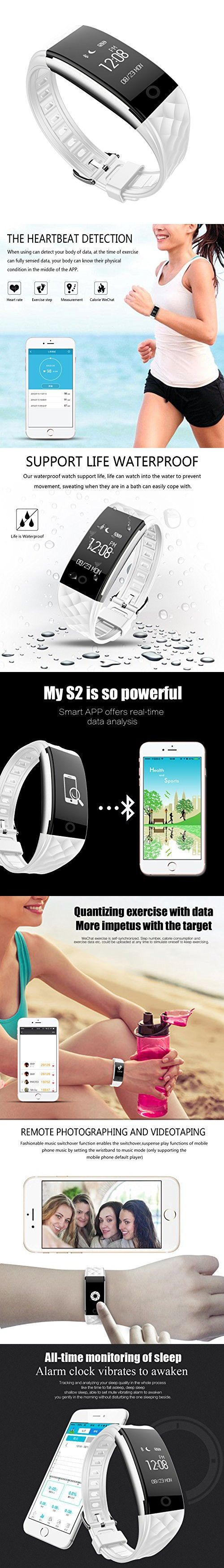 Fitness Tracker,DENISY Wireless Activity Trackers Smart Bracelet with Heart Rate Monitors for IOS Android Activity Watch Wristband.WHITE