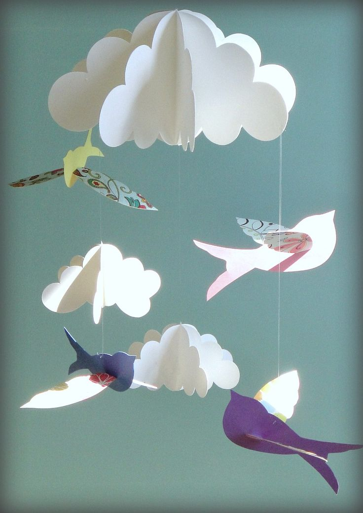 Birds and Clouds Hanging Paper Baby Mobile - 3D Mobile. $43.00, via Etsy.