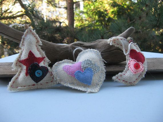 set of 3 christmas ornaments burlapplastic by Voweco on Etsy