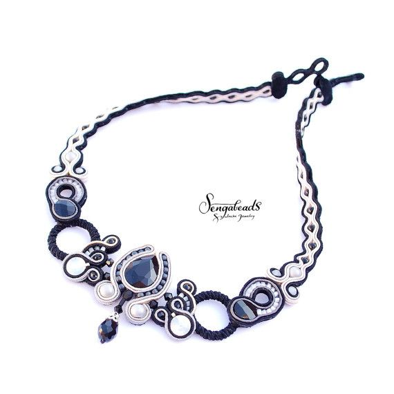 Black cream and gray hand embroidered soutache by Sengabeads