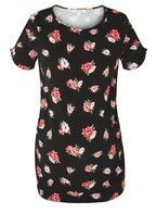 Womens **Maternity Black Spot and Floral Print Top- Black