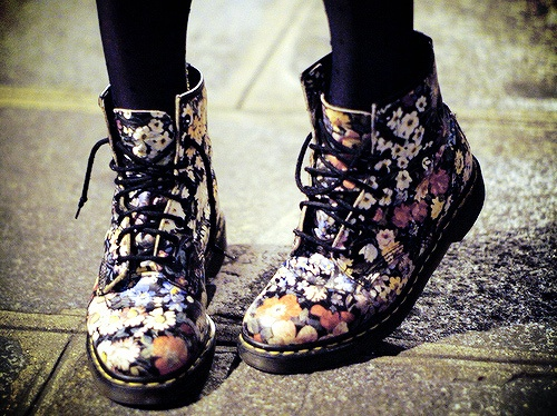 I love the floral Doc Martens The floral patterned add a soft touch to  thick hard boot. The pattern is also wearable and easy to pair with  clothing.