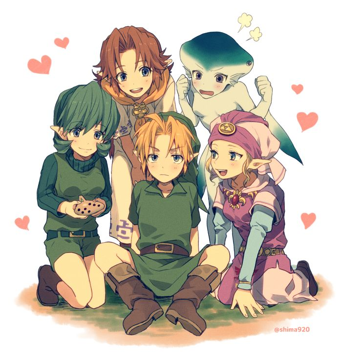 The Legend of Zelda: Ocarina of Time / Young Link, Young Princess Zelda, Saria,Young Malon, and Young Princess Ruto / 「ハイパーモテ男・リンク」/「真嶋しま」のイラスト [pixiv]