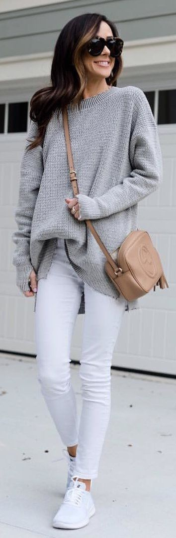 #winter #outfits gray knitted sweatshirt with white skinny jeans