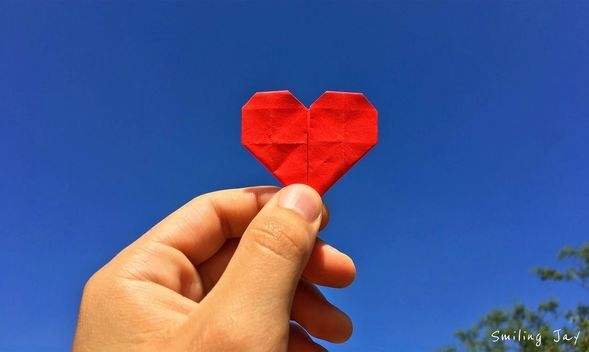 Love. Heart. Origami. Writing. Inspirational. Sky. Red.