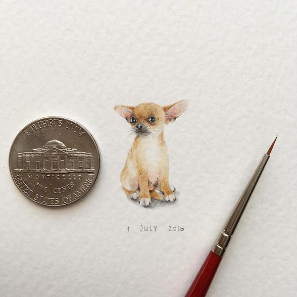 Artist Creates Miniature Paintings of Tiny Animals That Capture Every Cute Detail
