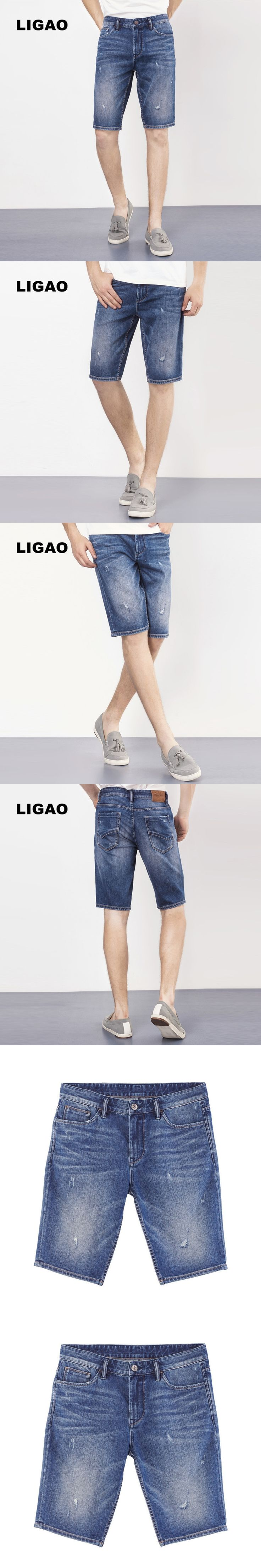 LIGAO 2017 Men's Denim Shorts Men Jeans Knee Length Pant Trousers Scrached Cropped Ripped Hole Summer Shorts Jeans