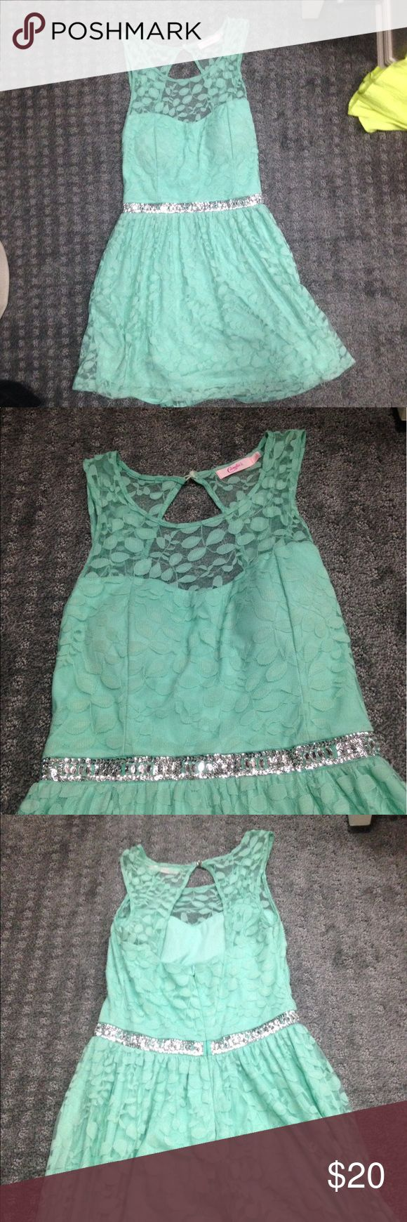 Light green mint dress Light green dress with diamond studs on the band part. Never worn, new with tag still attached. Pet free. Smoke free. Any other questions, ask me! Candie's Dresses Mini