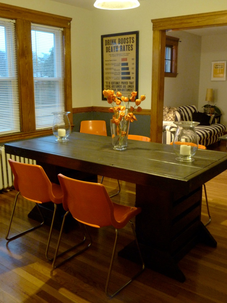 Comes in different woods; reclaimed/salvaged wood. 7 foot reclaimed dining doom table. $799.00, via Etsy.