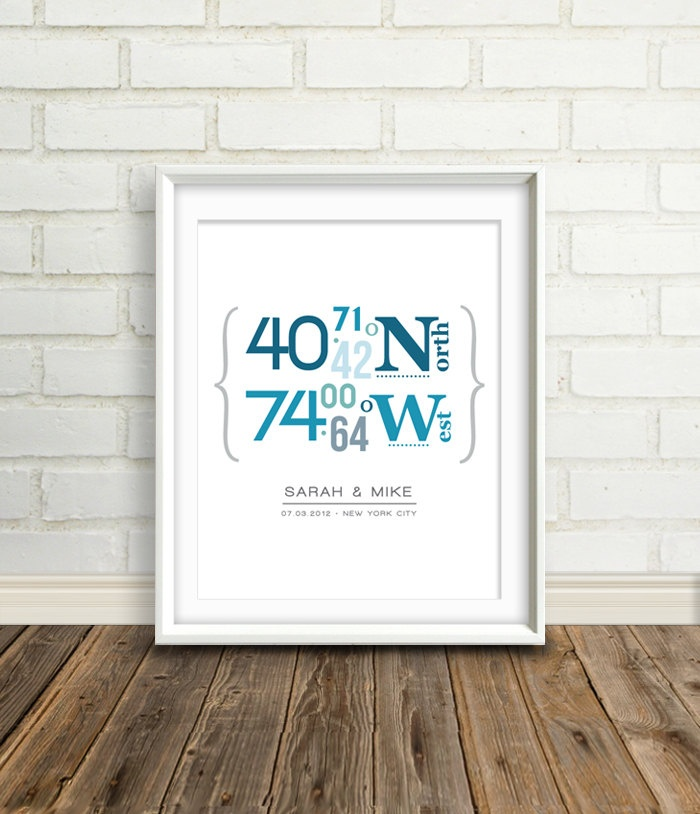 Personalised Wedding Gift Coordinates : Personalized Latitude, Custom Locations, Shower Gifts, Gift Ideas ...