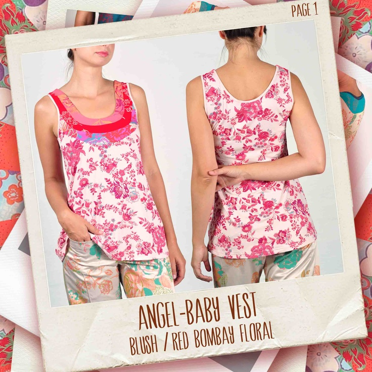 Angel-Baby vest in Blush/ red Bombay Floral