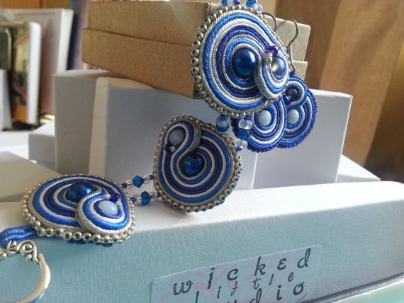 TARDIS with SilverHandstitched Soutache by WickedLittleShop, $37.00