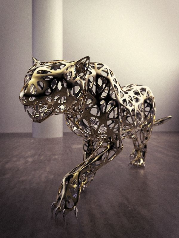 Stainless Steel #sculpture by #sculptor Sebastian Novaky titled: 'Leopard (Lifesize stainless Steel Wire statue)'. #SebastianNovaky