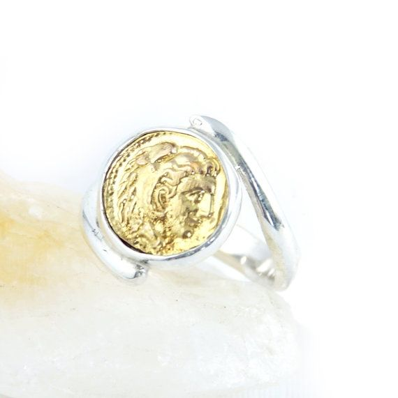 Silver Coin Ring - Alexander the Great - 925 Sterling Silver, 18k GOLD - swirl band - men & women's coin ring