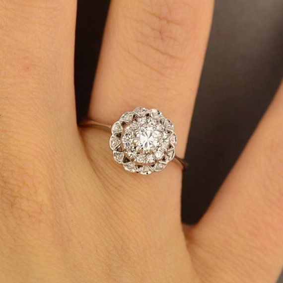 old shape ring european vintage antique platinum floral diamond cut best rings images pinterest engagement daisy wedding mine emilynicoleswee flower carat on in