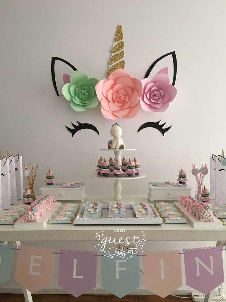What a beautiful Unicorn Birthday Party!! The backdrop is simple just so pretty!! Love it. See more party ideas and share yours at CatchMyParty.com #catchmyparty #unicornparty #backdrop #desserttable