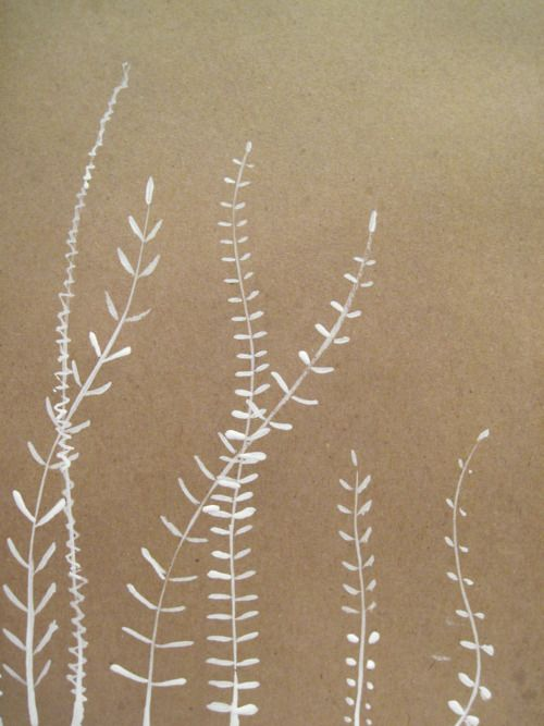 This would look beautiful as embroidery . . .   ohdeerjulie: 7/365 07/01/2012 ink on brown paper 9x12 By Oh!  Deer Julie