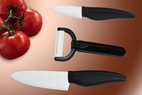 Ceramic Knife Set, Includes TWO knives(Chef & Parer) with BONUS Ceramic Peeler .... $24.99. Set includes 5.5 inch Chef Knife and 3.3 inch Parer. Knives impervious to food acids, stain and are rust proof. BONUS Ceramic Peeler. Ceramic Knives Surgically Sharp. Slice as easily through Meat as slicing Bread. This 2pc Ceramic Knife Set plus BONUS Ceramic Peeler will do all you need in the Kitchen. Slice through Meat, Slice Bread and easily Slice through Vegetables! Made of...
