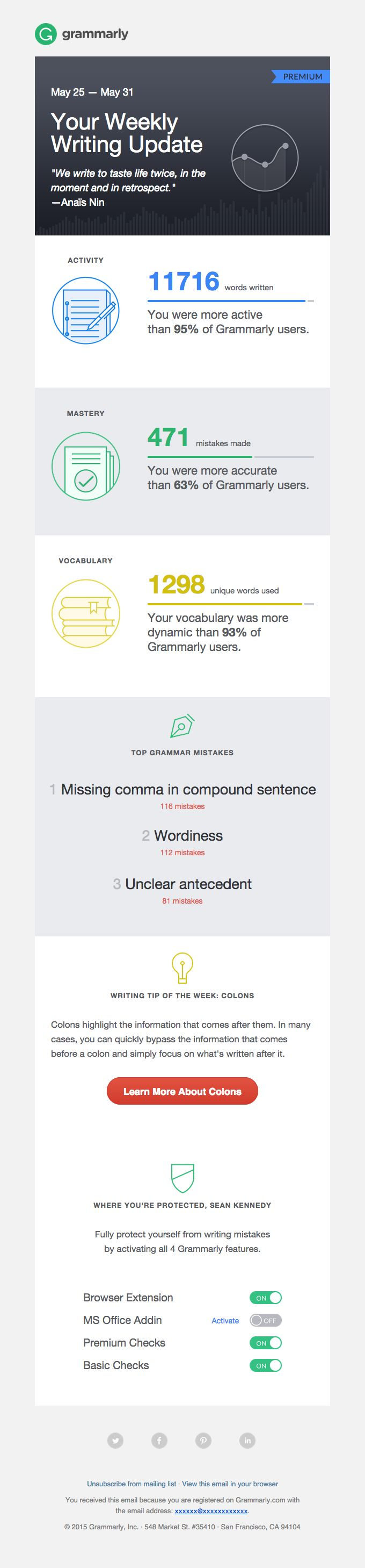 Grammarly Weekly Progress Report & Tips - Really Good Emails