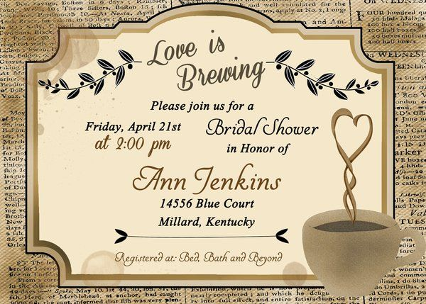 Love is Brewing Rustic Bridal Shower Invitation, Coffee Wedding | Sugar and Spice Invitations