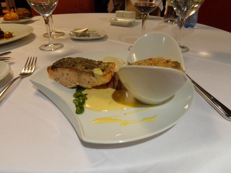 Le Cœur de Saumon (pan roasted salmon with a ginger crème du barry sauce and young broad beans) with Creamy Risotto @ Restaurant SENS @Kenzi Tower Hotel