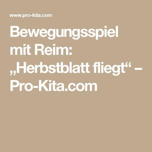 "Bewegungsspiel mit Reim: ""Herbstblatt fliegt"" – Pro-Kita.com"
