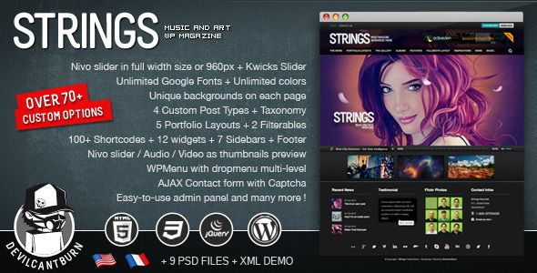 Themeforest – Strings Music and Art Magazine WordPress Theme