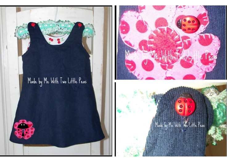 Little girls pinafore, size 2 style, slightly different styles available depending on the size required, cord, cotton or drill and appliques by request, from 30 AU$