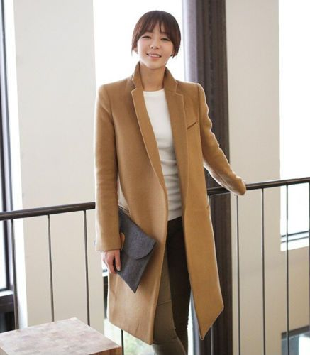 Womens-POLO-Collar-Slim-Double-breasted-Dust-Coat-Long-Wool-Blend-Jacket-Coat