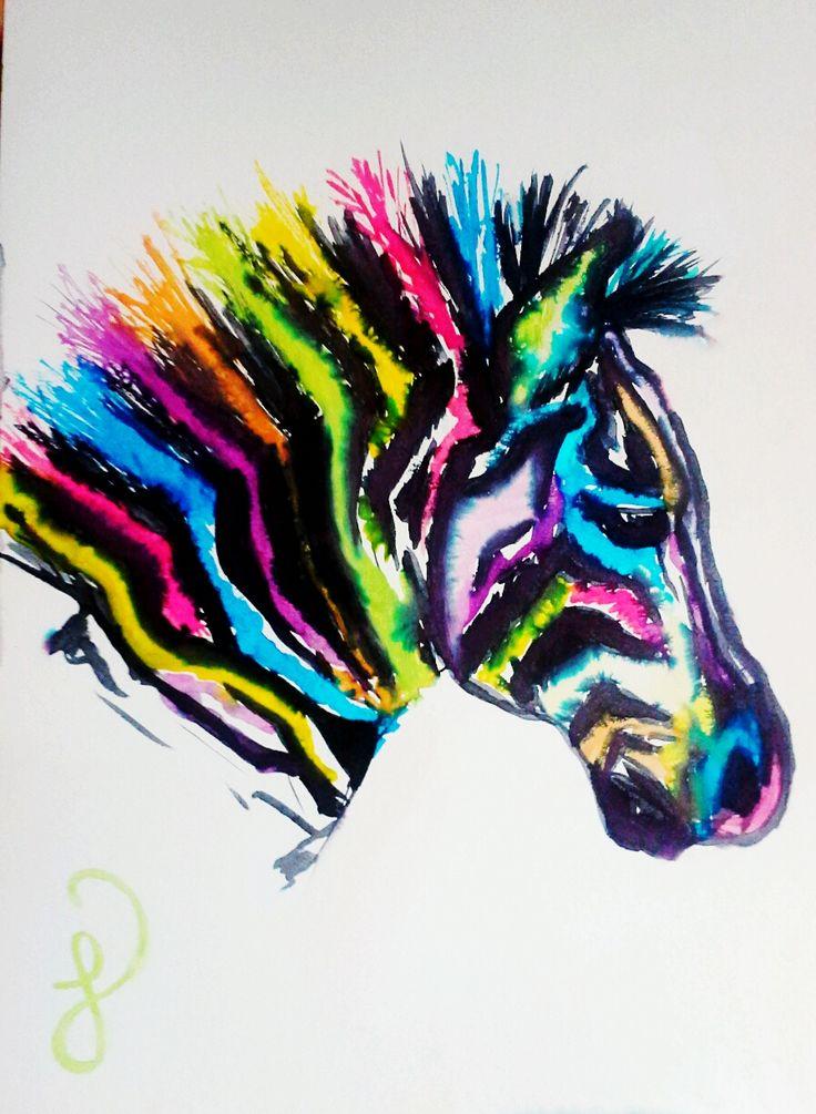 Thats so cuegly diy watercolor paint art dessins for Idee deco zebre