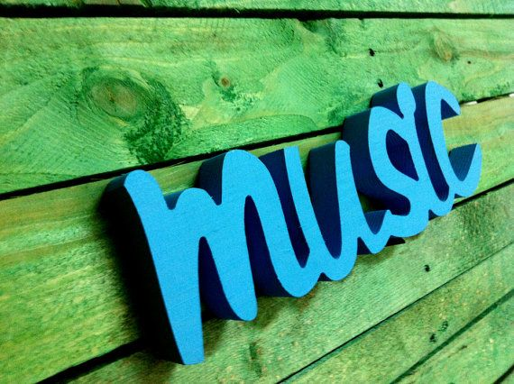 Wood sign word  MUSIC  wooden sign script home decor by svetulka, $33.00