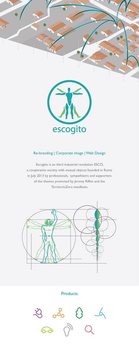 Corporate image e branding per Escogito, ESCO di terza rivoluzione industriale, una cooperativa di tipo mutualistico fondata a Roma nel Luglio 2013.