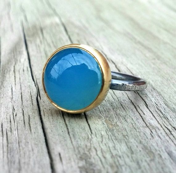 Blue Chalcedony Mixed Metal Gemstone Ring by LolaJewelleryDesign