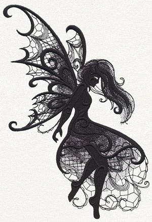 Intricate lacy textures combine with dimensionally eerie swirls to create this otherworldly fairy.