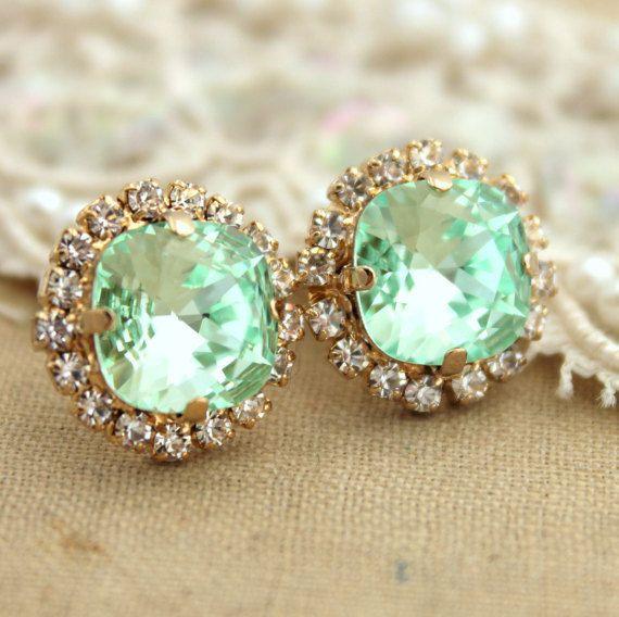 Mint Stud Earrings Crystal Mint Earrings Swarovski Mint by iloniti