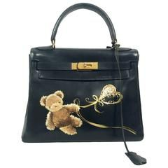 Hermes Kelly 28 Black Box Bag