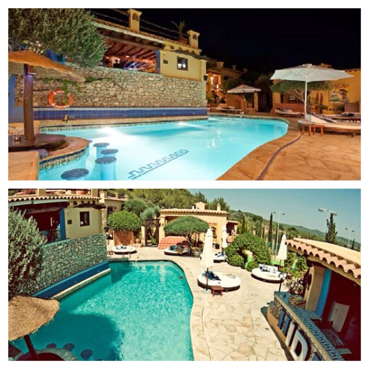 Pikes hotel.  An understanding on Ibiza. The pool has become world famous, George Michael's Wham shot their Club Tropicana videoclip here.