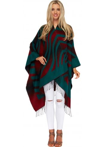 Step out in this gorgeous colour block green & red aztec stripe blanket cape.  More designer blanket capes and poncho's available.